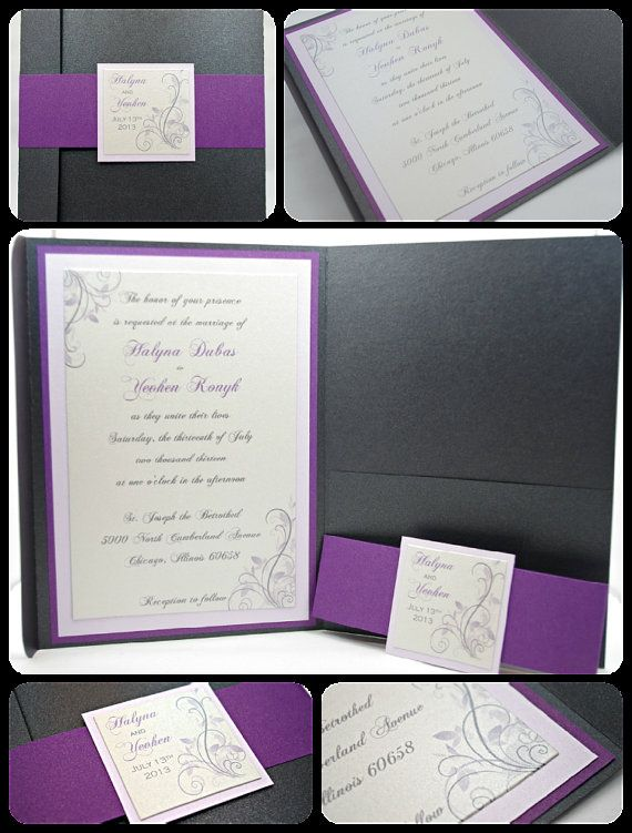 Beautiful Charcoal/Grey and Purple Shimmering by InviteBling, $3.70