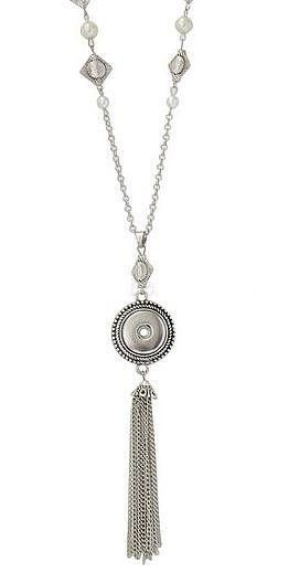 Silver Tassel Pendant Pearl Chain 18-20mm Snap Charm For Ginger Snaps Necklace