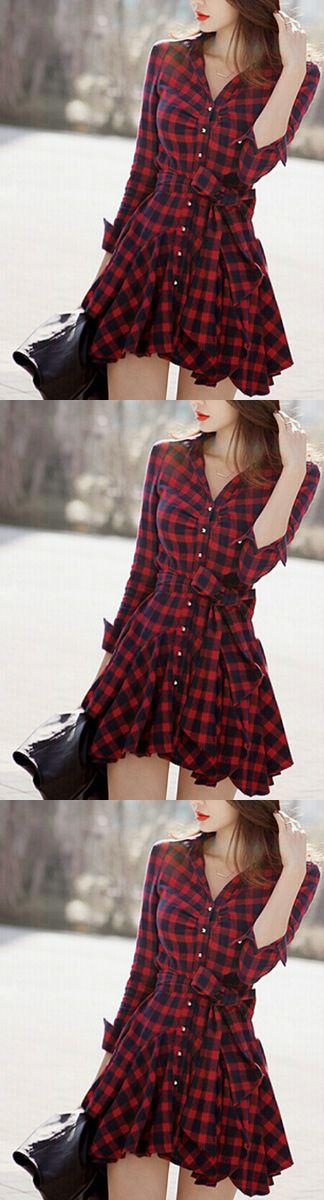 Новые поступления женщины одеваются красный плед напечатан блузка платья мода нерегулярные с длинным рукавом мини Vestidos с поясом L8146