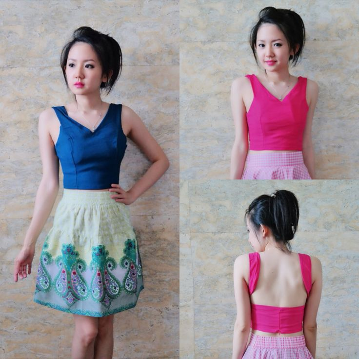 Kendra backless top (pink and tosca)/top with cup bra/bust up to 130/length 38/180k/ Email: order@fellinboutique.com, LINE: FellinBoutique, BBM: 7637D27C