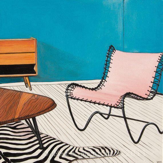 Fine Art Print  Midcentury Modern Pink Chair 8 x 8 by BlueTrike, $20.00