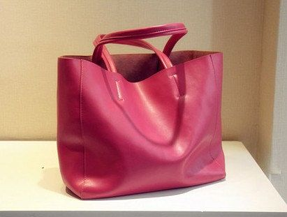 Rose-red Leather Bag/ Shopping Bag/ iPad Bag/ Shoulder Bag/ Women Bag/ Handmade Bag