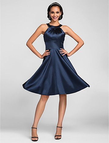 abito da damigella d'onore al ginocchio lunghezza raso stretch un abito linea di gioielli (663659) - EUR € 64.99
