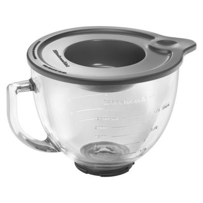 Kitchenaid Glass Bowl Stand Mixer Accessory. This bowl, unlike the bowl that we already have for our Kitchenaid, has a handle and a spout!