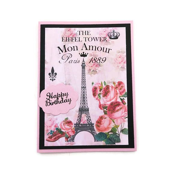 Free Shipping Paris Dream Card Eiffel Tower Greeting Card French Birthday Card Pink Shoe Congratulations French Vintag Paris Cards Birthday Cards Pink Roses