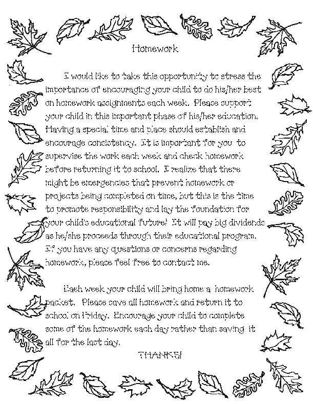 teacher templates letters parents Parent Letter for Homework
