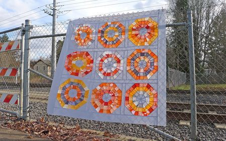 octagonal quilt: Gray Quilts, Octagonal Orb Quilts Tops, Beautiful Quilts, Color, Octagon Quilts, Octagon Orange, Octagon Orb, Orb Blocks, The Blocks