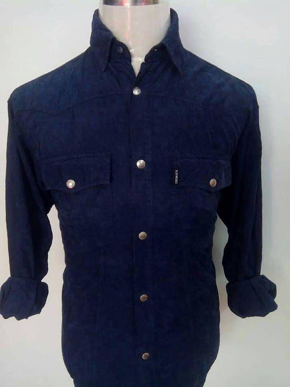 Vintage Iceberg Jeans Corduroy Button Down Snap Button Shirt