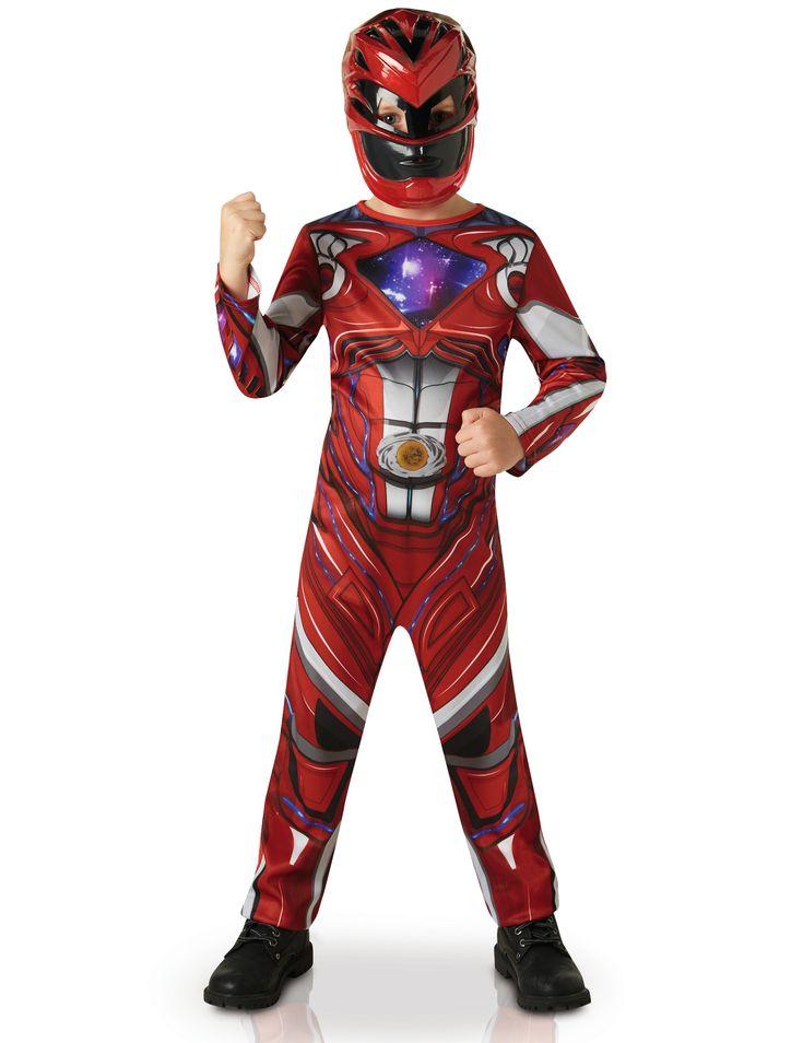 Déguisement Power Rangers™ Rouge - Film : Ce déguisement de Power Rangers™ rouge pour garçon est sous licence officielle. Il se compose d'une combinaison et d'un demi-masque (chaussures non incluses). La...