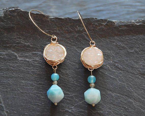 Amazonite earrings Blue and white earring Druzy earrings Long dangle earrings Boho chic Silver earrings Gift for women 1182 by StudioDjewelry