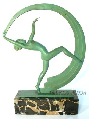 French Art Deco Period Figural Nude Scarf Dancer Statue  Sculptor: Janle (Max Leverrier)  Circa mid to late 1920's, Paris, France