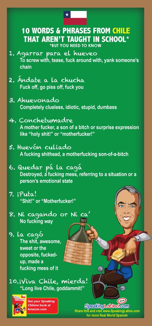 Ten of the most common vulgar Spanish slang words and phrases from Chile that include nasty and insulting language. Download the image and share.