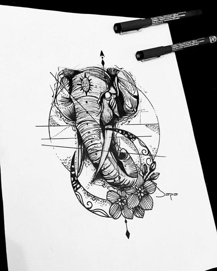 7 best Слоны images on Pinterest   Tätowierung skizzen ...