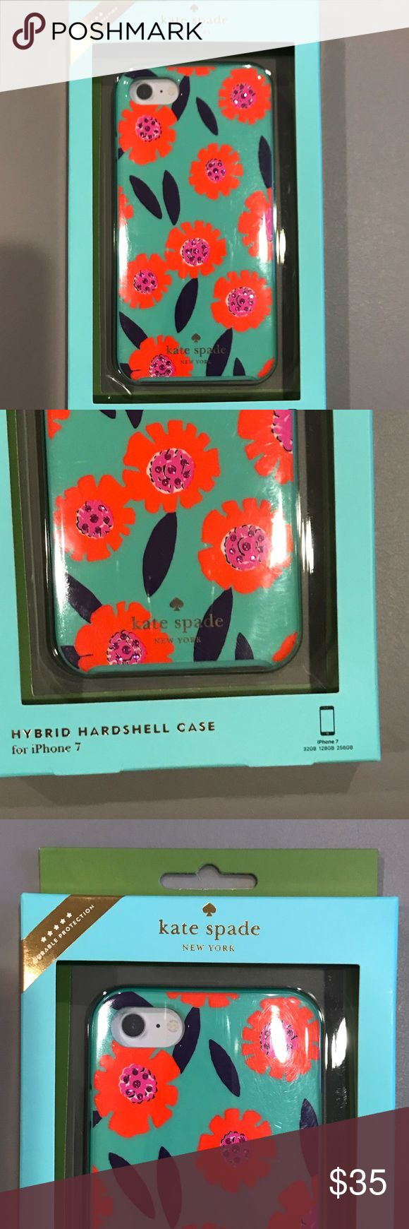 Kate Spade IPhone 7 Case Brand New in box.   Authentic!  Size: IPhone 7  Color : green background with pink flowers inside flower has rhinestones  Style:  Hybrid Hardshell Case  Sorry no trades.   🛍 kate spade Accessories Phone Cases
