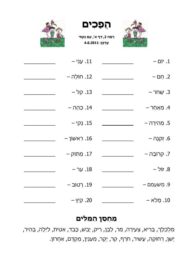 בפוסט הזה יש כמה דפי עבודה בעברית בנושא הפכים. הדפים מתאימים לתלמידות ותלמידים בבית ספר יסודי. בכל אחד מהדפים יש 20 זוגות הפכים ומחסן מיל...