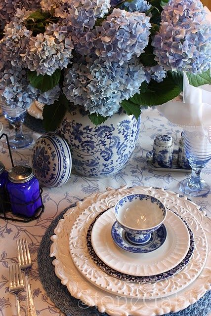 blue hydrangeas with blue and white china