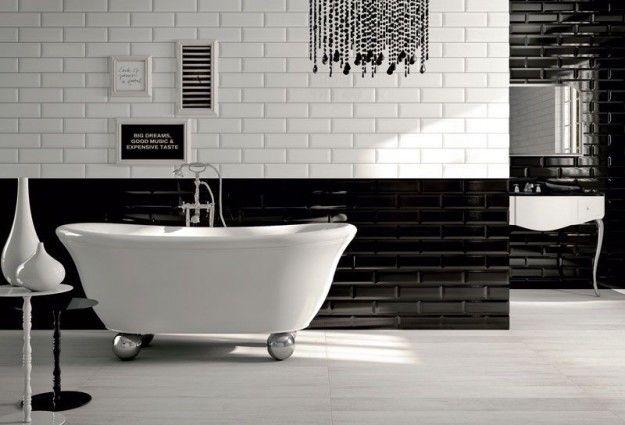 Bagno in bianco e nero - Colori neutri per arredare il bagno in stile vintage.
