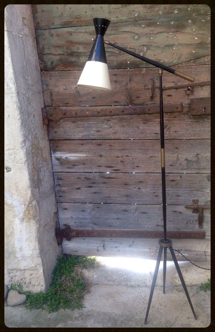Abat-jour métal et papier vintage sur mesure pour lampadaire tripode à balancier