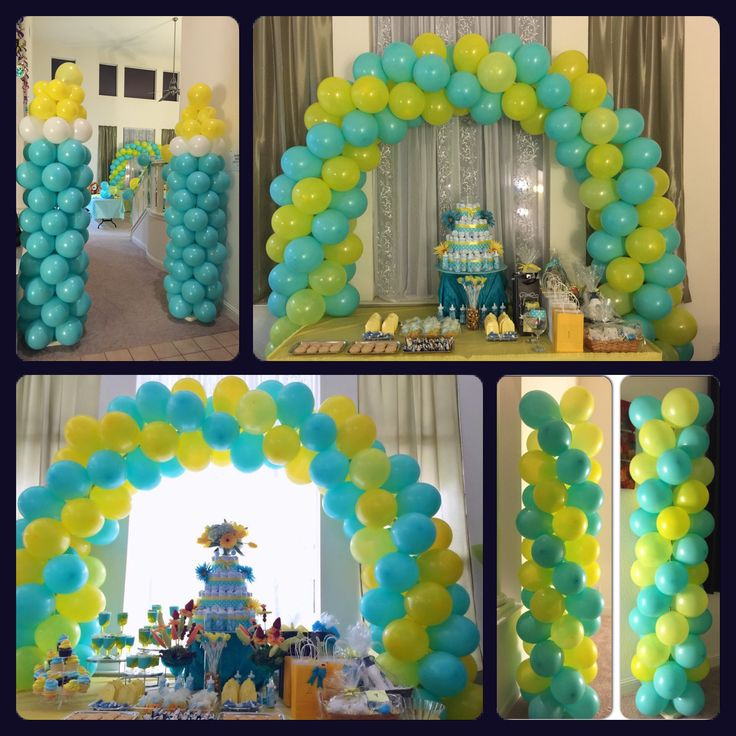 baby shower yellow balloon arch and yellow turquoise on pinterest