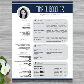Dark Blue and Gray Resume Template | Teacher CV Template + Cover and Reference Letters for MS Power Point Need help with GOOGLE SLIDES? Click HERE to check out how to upload this PPTX file to Google Slides. ► WHAT YOU'LL GET → 2 Page Resume Template - US Letter