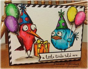 """airbornewife's stamping spot: """"A LITTLE BIRDIE TOLD ME ~ IT'S YOUR BIRTHDAY!"""" Tim Holtz Crazy Birds card for a friend."""