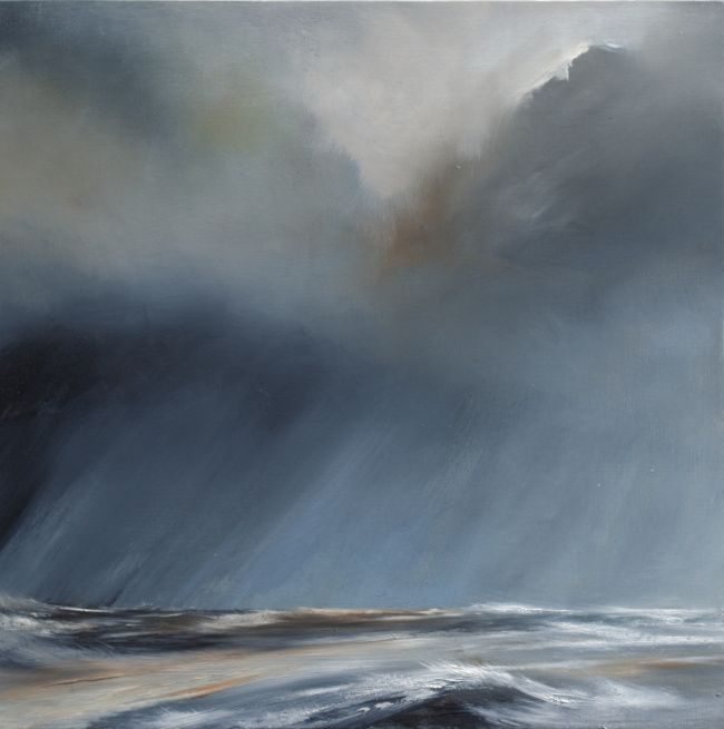 Squall by Tori Tipton - Oil on board 30cm x 30cm Oil painting of storm over sea
