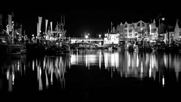 A very still night at 2am in Weymouth Harbour, best time to take photos in the dead of night – part of a series of high contrast black and whites