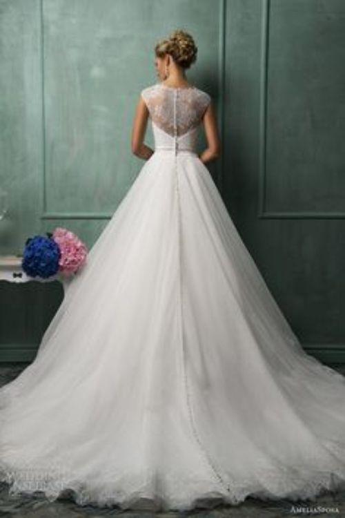 V Back Bateau Sheath/ Column Lace Chapel Train Wedding Dress - Bride Dress |
