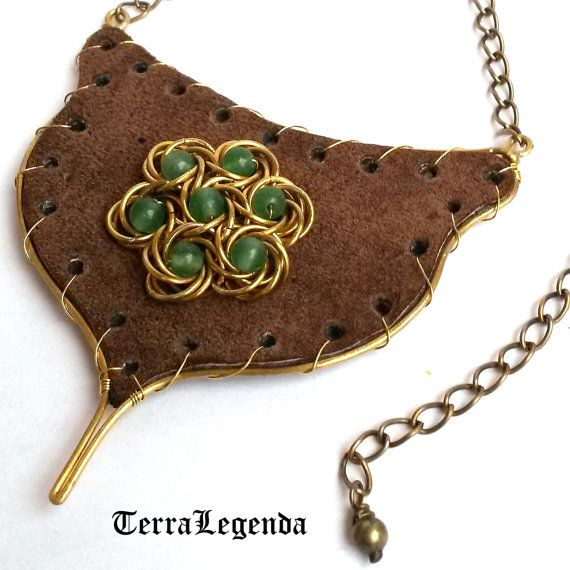 Royal Forest leather chainmaille necklace, unique chainmaille jewelry with aventurine, brass, brown leather