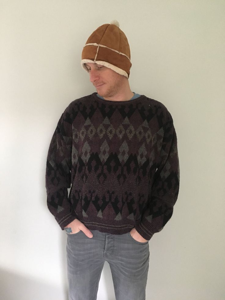 80s Grandpa sweater, Unisex, Bulky Sweater, Chunky Knit, Patterned Sweater, Pullover, Mens, Womens, Oversized, Ugly Sweater, M L XL by MileZeroVintage on Etsy