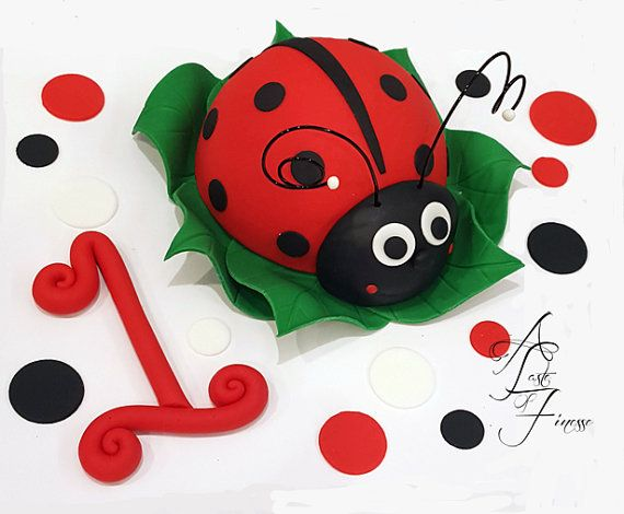 Fondant Ladybug Cake Decorating Kit With Polka by ATasteofFinesse