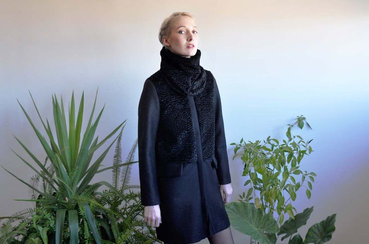 Aroma30 - Minimal chic Astrakan and wool coat with detachable collar