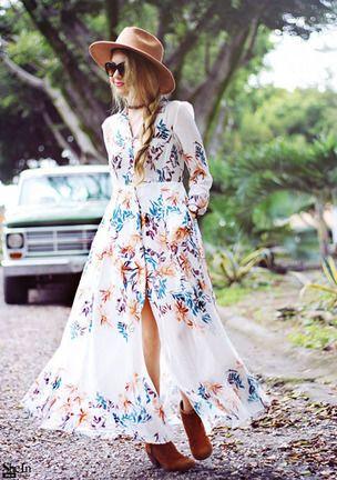 COLROVIE Летом Пляж Стиль Женщины Цветочный Печати Шифон Футболка С Длинным Платья Глубокий V Шеи Женщины Повседневная Нагрудные Maxi Dress купить на AliExpress