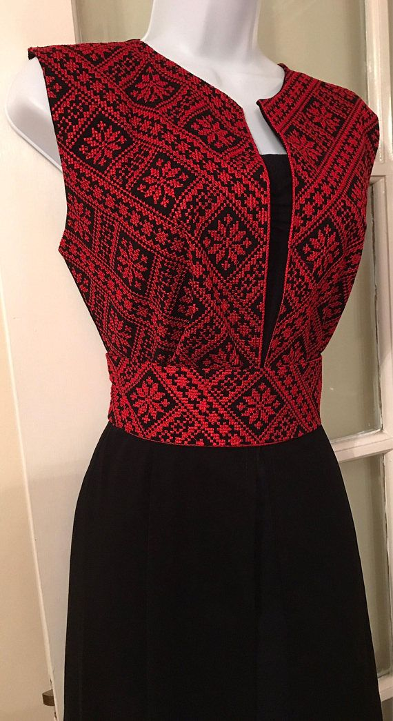 Long black Sleeveless Kimono / Vest / Jaket with Red Palestinian Embroidery / corss stitch The belt is included in the price. The Kimono is also available in gold embroidery