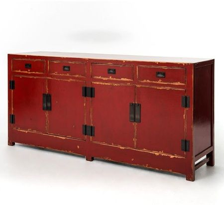 Tai 4 Door and 4 Drawer Red Buffet Sideboard