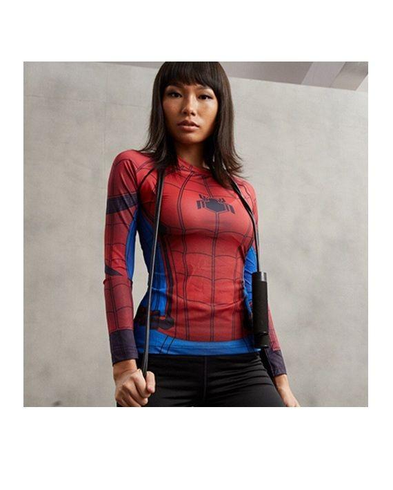 Ladies Civil War Spiderman Long Sleeve Compression Shirt #Superhero #Shirts #SuperGirlShirt #leggings