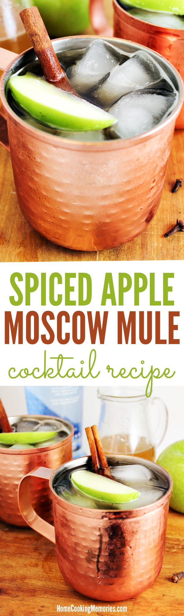 SO GOOD! This Spiced Apple Moscow Mule cocktail recipe is made with apple cider and a spiced simple syrup (with cinnamon & cloves), plus vodka & ginger beer. Especially great when served in a copper mug.