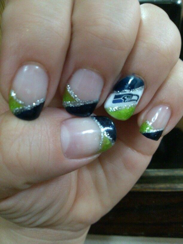 1St Seattle Seahawks Shellac Manicure #nails #nailart