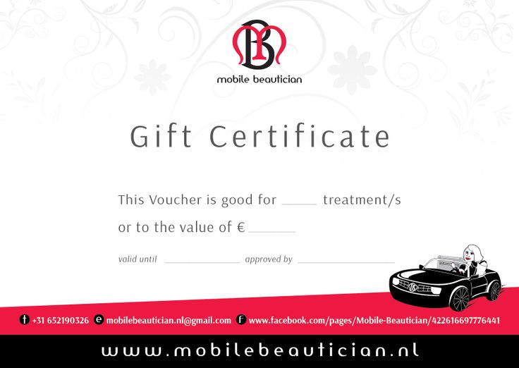 The Mobile Beautician Gift Certificate