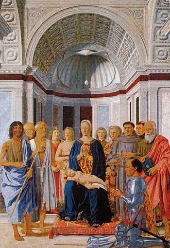 """Piero della Francesca - Pala di Brera o """"Madonna con il Bambino , sei santi, quattro angeli e il duca Federico da Montefeltro"""" - olio e tempera su tavola - 1472-74 - Pinacoteca di Brera a Milano."""