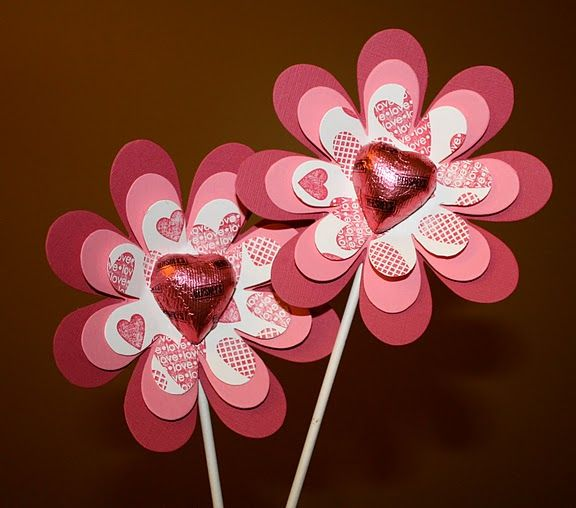 Flower Valentine with heart center except reeses cup to make a daffodil and using seed paper.