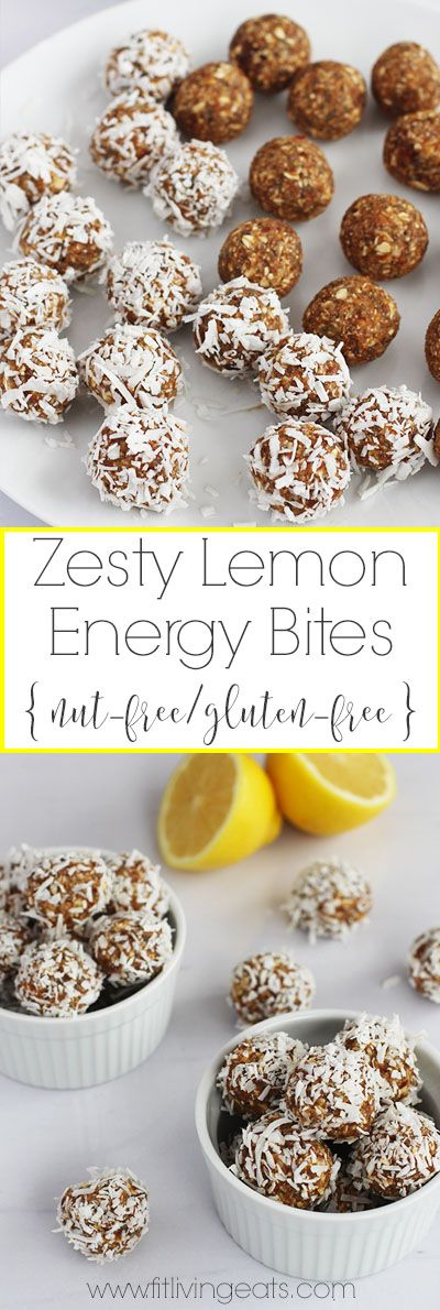 These Zesty Lemon Energy Bites are nut-free and gluten-free and are a great pre-workout bite or healthy snack when you need an energy boost!