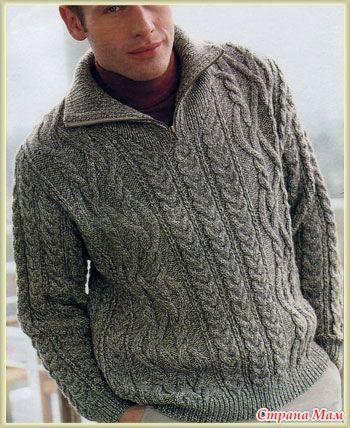 Здравствуйте, девочки. Связала на заказ мужской свитер( или джемпер? ), вообщем хвастаюсь. Связан в две нити на спицах 3,5, резинка на спицах 2,5.