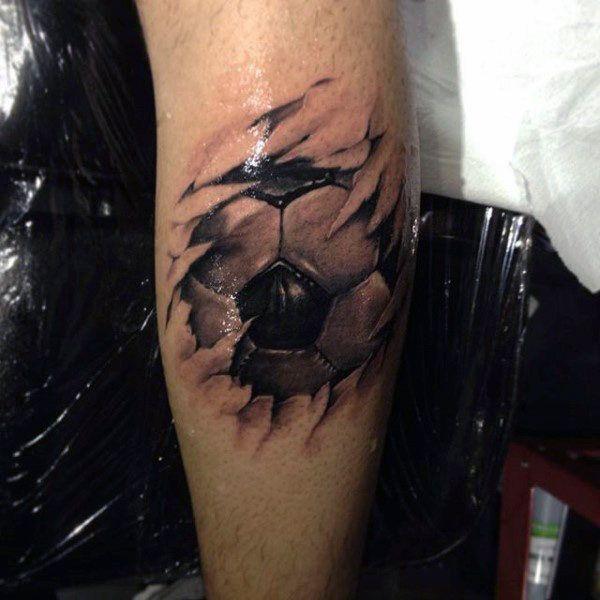 Torn Skin 3d Male Soccer Tattoo Ideas