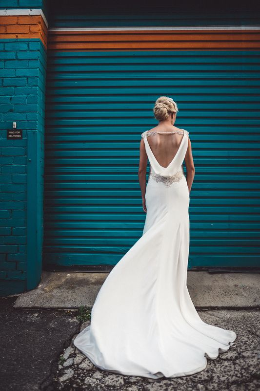 Gown low back backless scoop neckline industrial wedding Melbourne Australia photographer bold