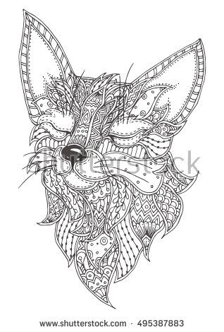 Fox. Hand-drawn with ethnic floral doodle pattern