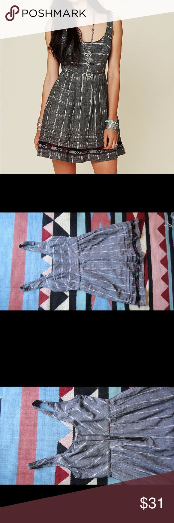 denim new romantics weather vane ikat dress size 8 mid length dress! like new. worn once. Free People Dresses