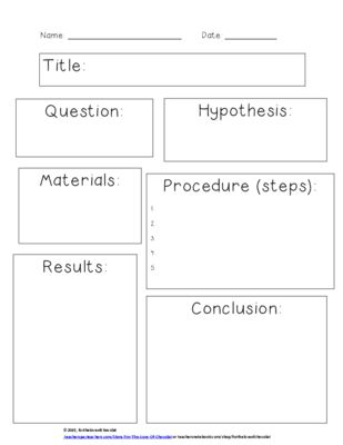 Scientific Method  - SIMPLE Worksheet from fortheloveofchocolat on TeachersNotebook.com -  (1 page)  - A simple graphic organizer to fill in when doing an experiment following the scientific method