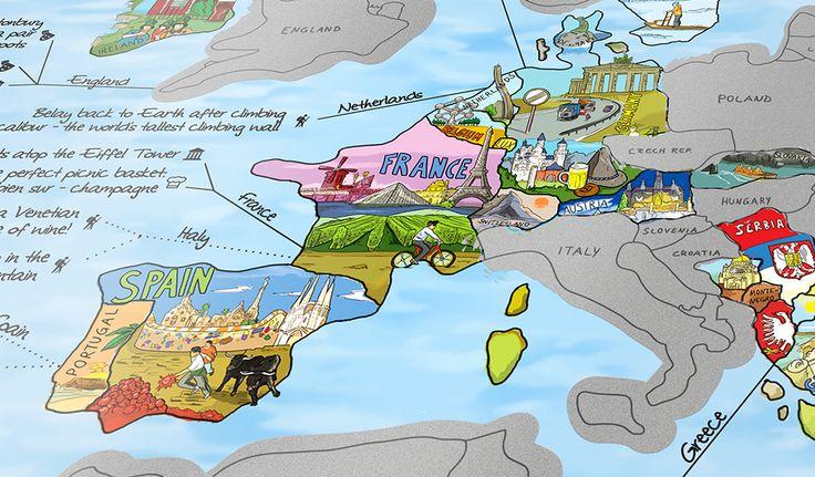citiesocial – 德國製 Awesome Map 手繪風刮刮樂世界地圖 82折起   7/9結束