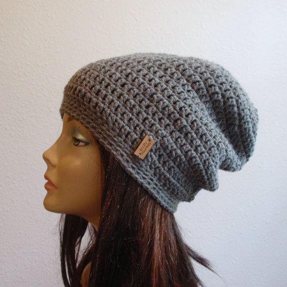 Slouchy Beanie grau Hut  : Farbe: MITTELGRAU  : Weiche Acrylgarn  : Erwachsene / Teen-Größe: 20-22 Umfang  : Waschen und Pflegeanleitung: Um die